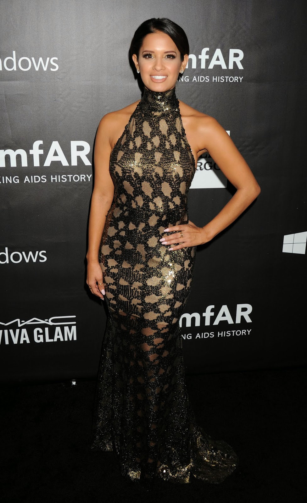 Rocsi Diaz hot glamour dress at amfAR LA Inspiration Gala photo 1
