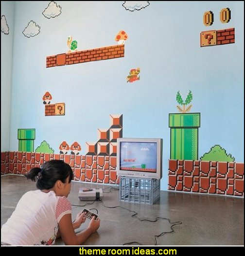 Nintendo Wall Graphics - Super Mario Bros  Gamer bedroom - Video game room decor - gamer bedroom furniture - gamer wall decal stickers