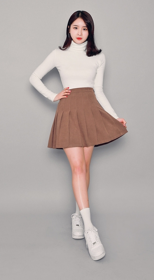 High Waist Pleated Mid-Thigh Length Skirt
