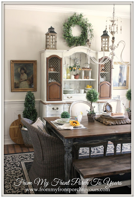 planked dining room table-farmhouse dining room-french country dining room-from my front porch to yours