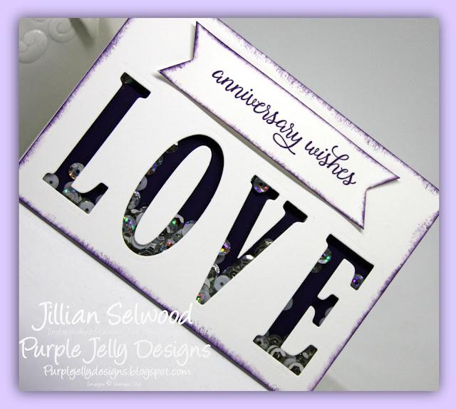 Large Letters thinlet dies, Elegant Eggplant Cardstock, Shaker Card, Anniversary Card