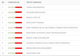 daftar sertifikat pelaut