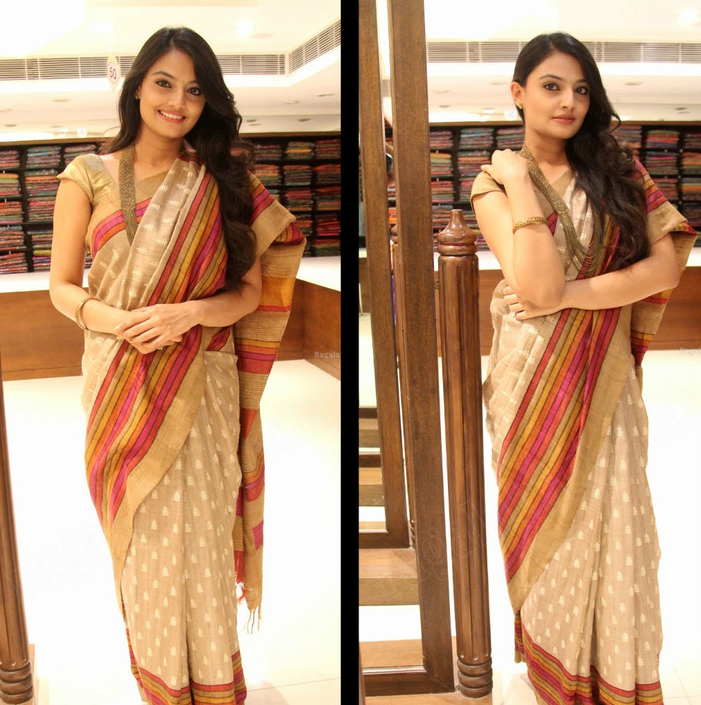 ea50f2e9f64c18 Telugu heroine Nikitha narayan latest photos in jute silk saree at  Kalamandir foundation fourth anniversary celebrations in Hyderabad.