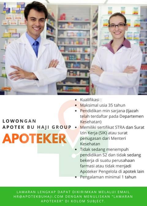 Lowongan Apoteker Bu Haji Group