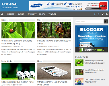 Fast gear is a blogging blogspot template with 4 column footer.