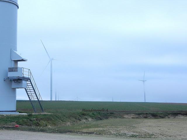 Éoliennes et brouillard - Champagne Ardenne - Aube