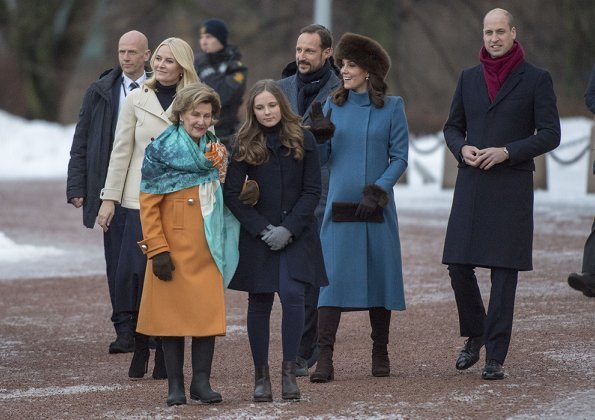 Kate Middleton wears a jacket by Catherine Walker and a maternity dress by Seraphine brand. Mette Marit wore Manolo Blahnik pumps. Queen Sonja