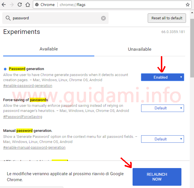 Google Chrome pagina degli esperimenti chrome flags