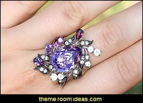 Amethyst Chocolate Diamond, Rhodolite Garnet, Smokey Quartz 7.25 cttw 14k White Gold Cocktail Ring