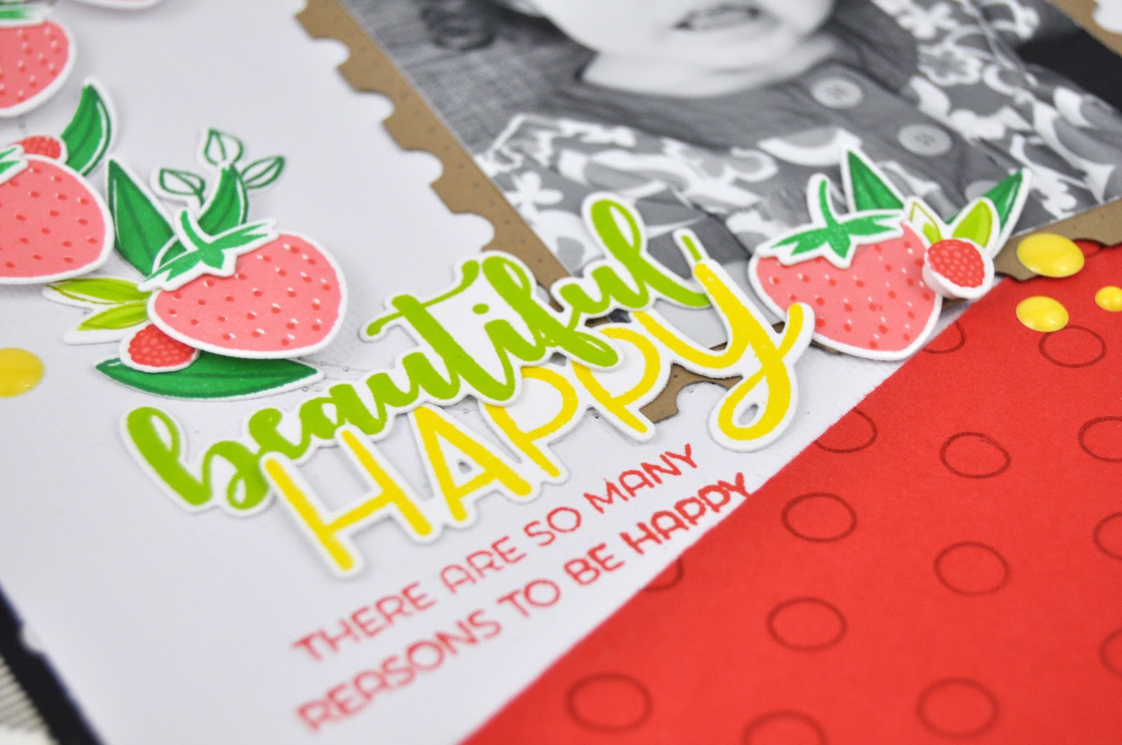Winnie and Walter: stamped scrapbooking layout using strawberries, and leaves. Scrapbooking layout by Jen Gallacher for Winnie and Walter. #stamping #scrapbooking #scrapbooklayout #jengallacher #winnieandwalter
