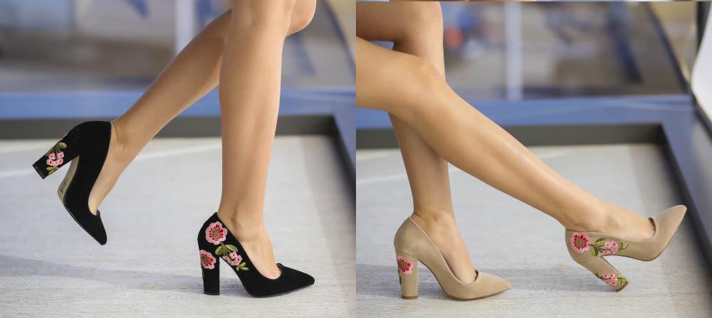 Pantofi din piele intoarsa cu toc negri, bej cu imprimeu cu flori