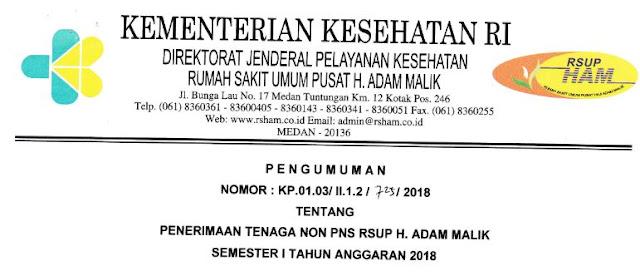 Penerimaan Tenaga Non PNS RSUP H.Adam Malik Tahun 2018