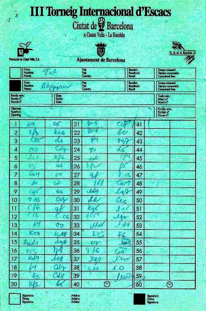 Planilla de la partida de ajedrez Tal-Akopian en Barcelona 1992