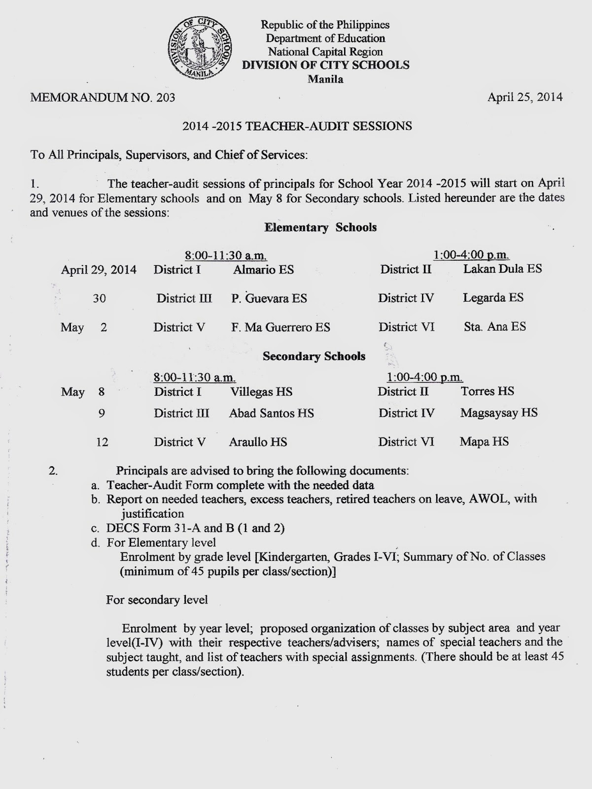 department of education manila division memorandum no  tuesday 13 2014