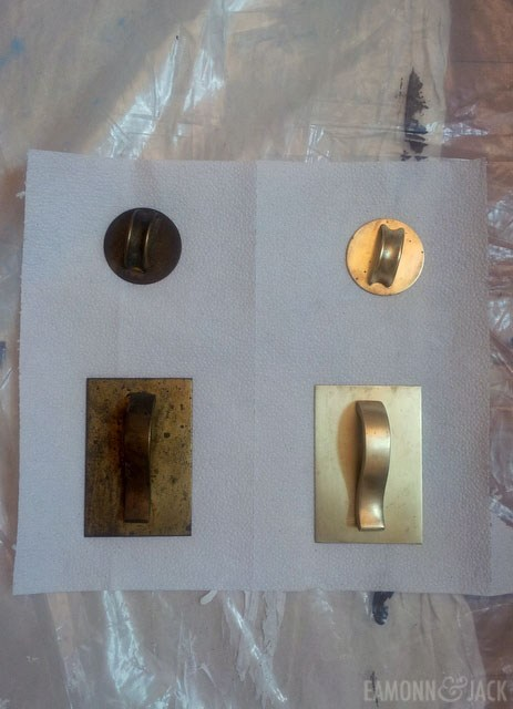 brass hardware before and after polishing