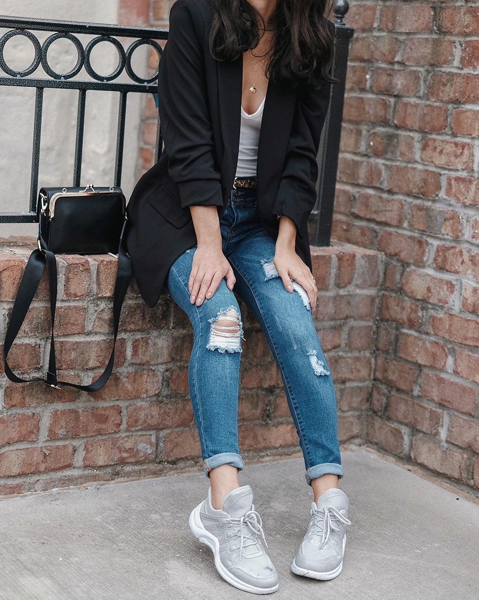 walmart time and tru blazer, how to style a blazer sneakers