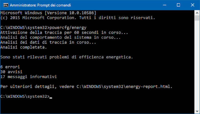 Prompt dei comandi Windows comando per report energetica