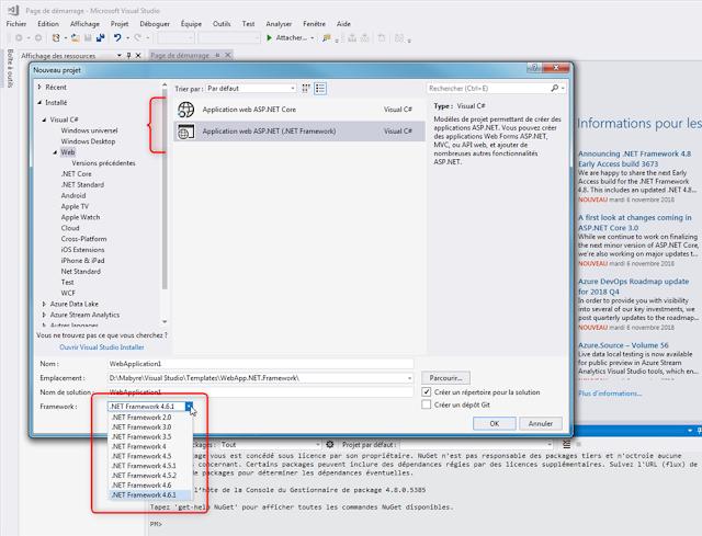 Création d'une solution ASP.NET Framework