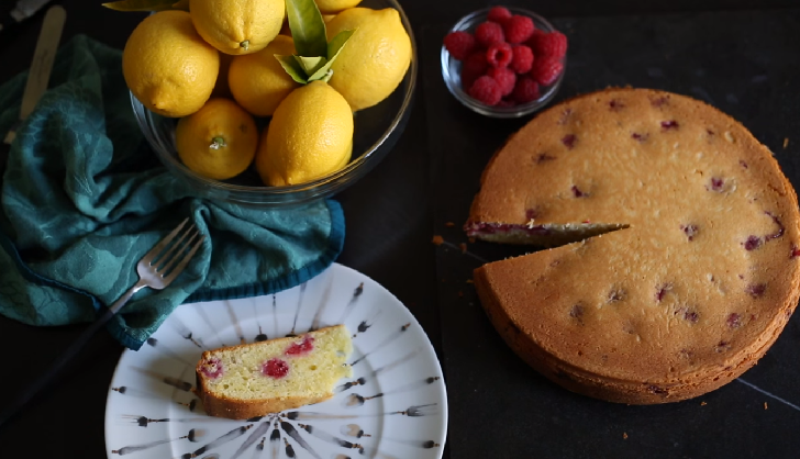 Lemon and Olive Oil Cake with Raspberries