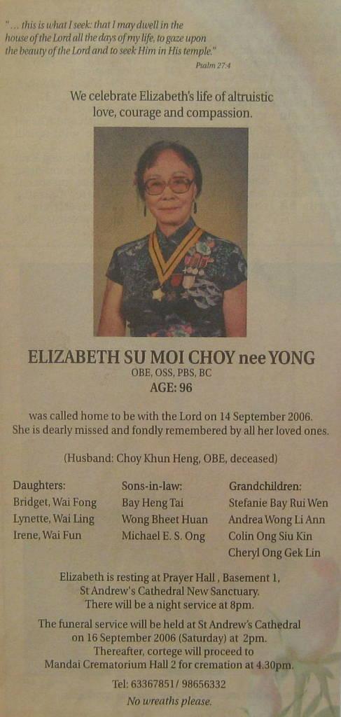 Elizabeth choy a singaporean hero