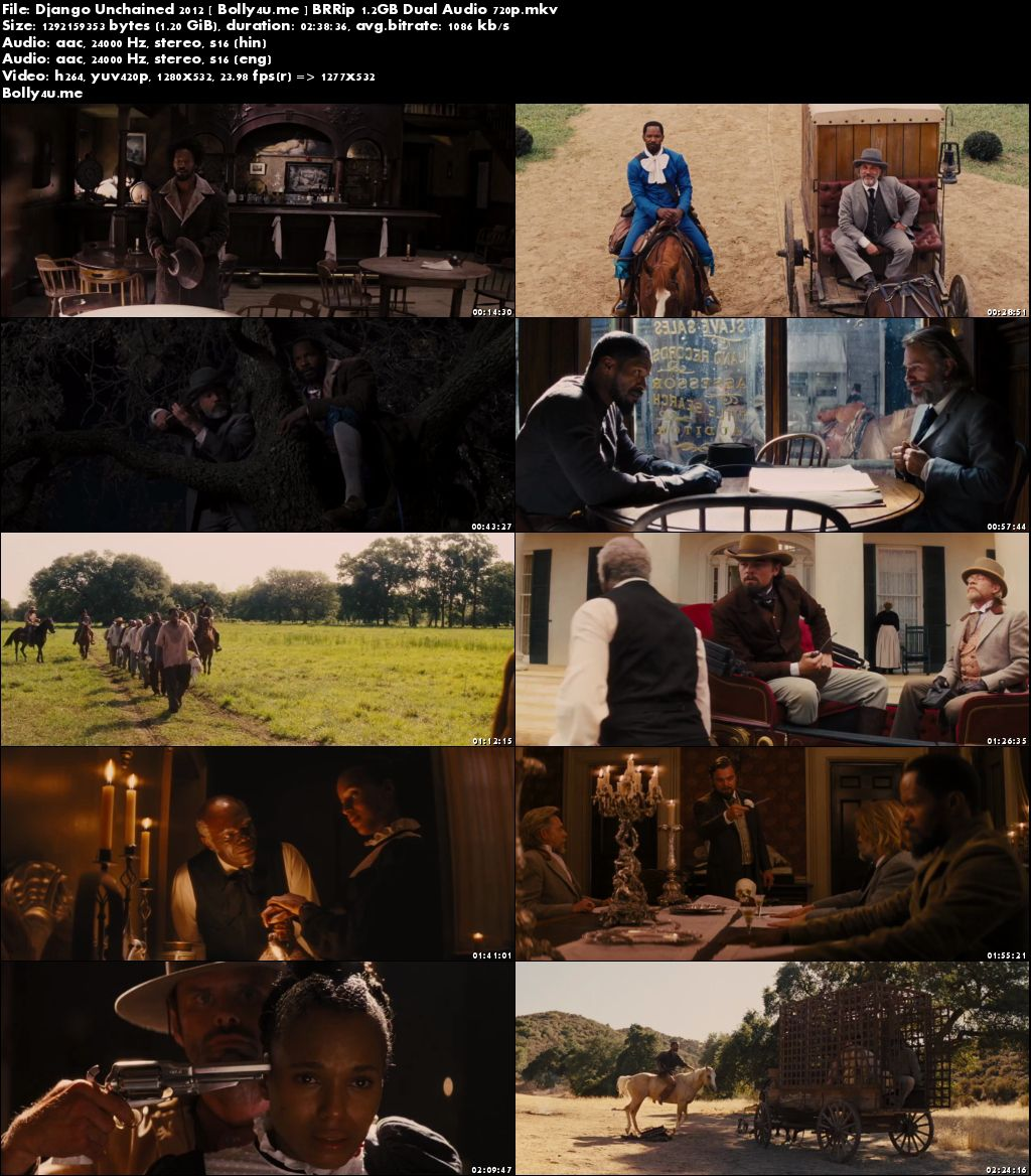 Django Unchained 2012 BRRip 500MB Hindi Dubbed Dual Audio 480p Download