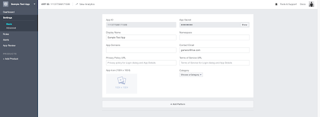 settings of app facebook developers