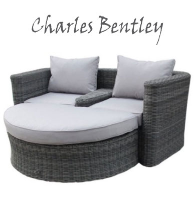 Charles Bentley Garden Poly Rattan Grey Companion Set and Footstool Grey Cushions, Round Outdoor Daybeds UK, Outdoor Daybeds UK, Daybeds UK, Outdoor Daybeds at Amazon.co.uk, Amazon.co.uk, Best Outdoor Daybeds, Outdoor Furniture, Quality Outdoor Daybeds,