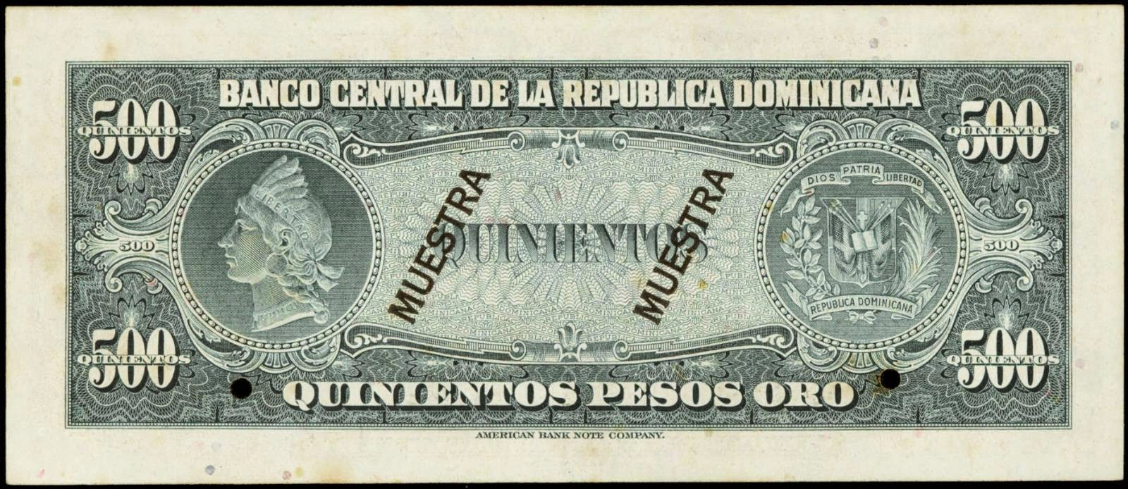 Dominican Republic paper money 500 Pesos Oro banknote 1962