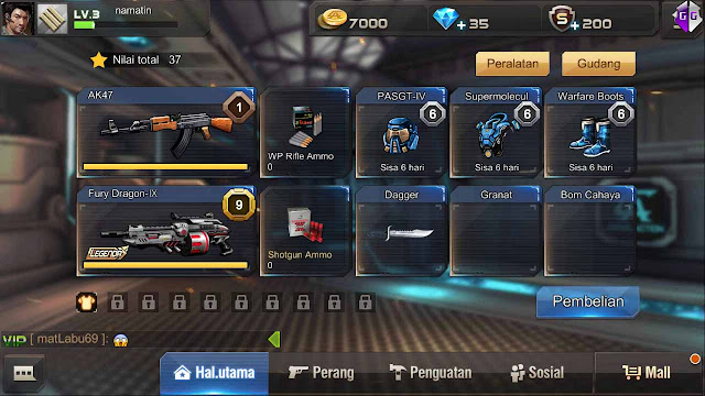 kode cheat senjata legenda crisis action