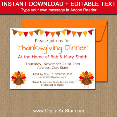 Thanksgiving Party Invitation Download