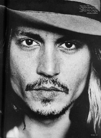 Johnny depp black and white pics
