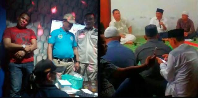 oknum Kades Sei Sarindan, Asahan Agus Salim Sinaga saat ditangkap BNN di cafe (kiri) saat menghadiri pertemuan dengan Djoss di kantor Apdesi Asahan (kanan paksi baju batik tangan pendek di belakang sedang megang Hp)