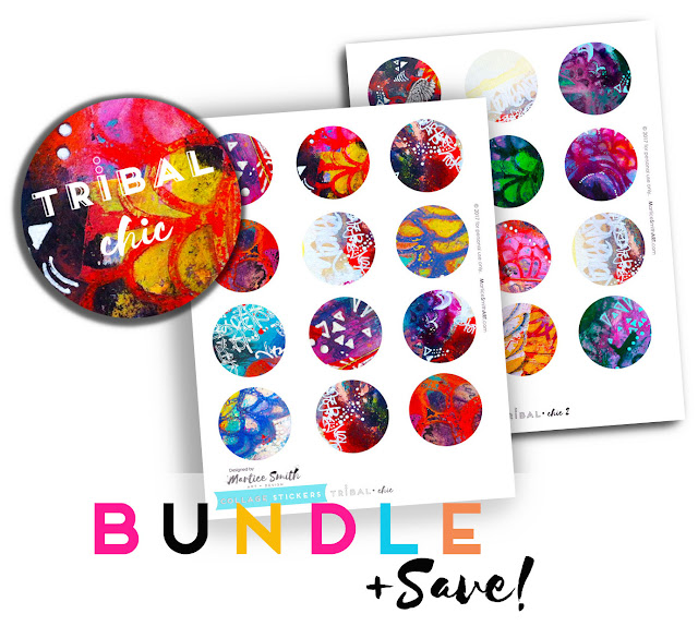 Bundle of Collage Stickers from MarticeSmithArt.com