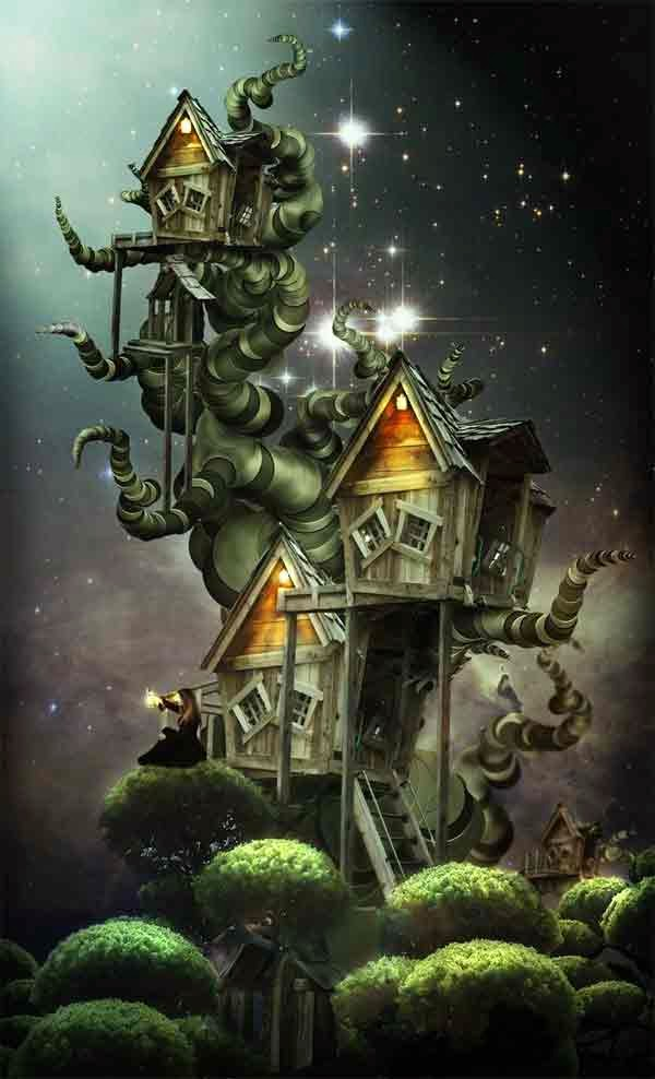 Create an Amazing Surreal-Style Tree-house in Photoshop