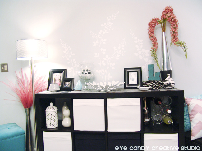 black and white decor, dining room makeover, white vinyl design on wall