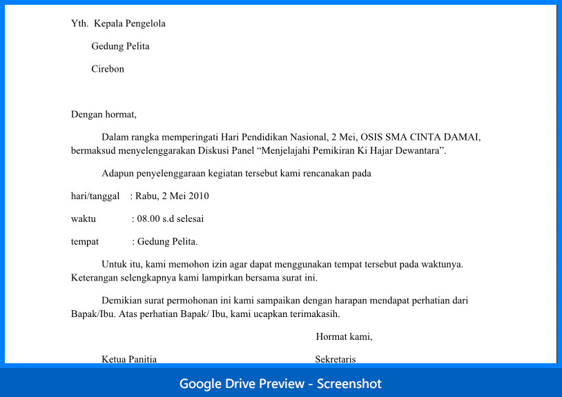 contoh surat dinas permohonan izin