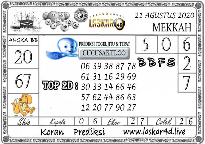 Prediksi Togel MEKKAH LASKAR4D 21 AGUSTUS 2020