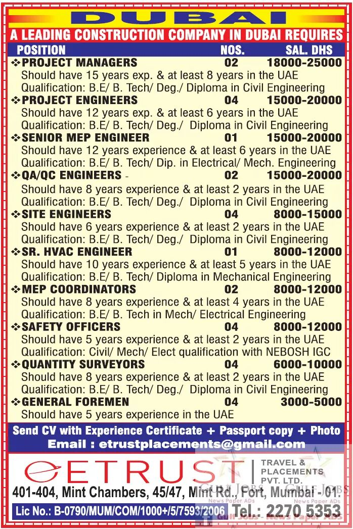 Leading construction company job's for Dubai - Gulf Jobs for Malayalees