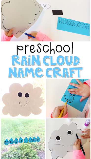 This raid cloud name craftivity is fun for name writing, recognition, and fine motor practice with a weather theme. Great for tot school, preschool, or even kindergarten!