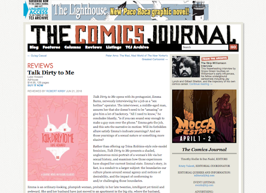 Talk Dirty To Me (Adhouse 2016) reviewed on The Comics Journal!