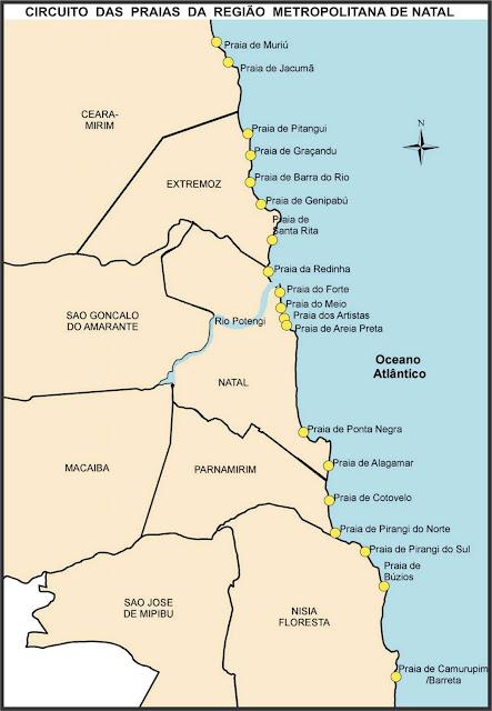 Mapa das praias metropolitanas de Natal