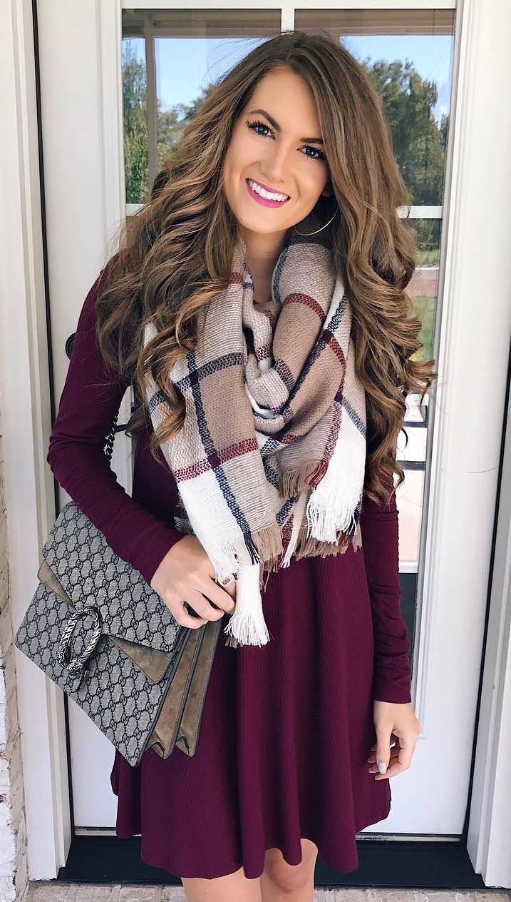 what to wear with a plaid scarf : maroon dress and bag