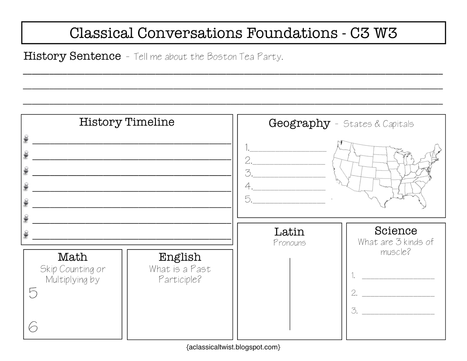Homeschooling With A Classical Twist Cycle 3 Week 3 Review Sheets