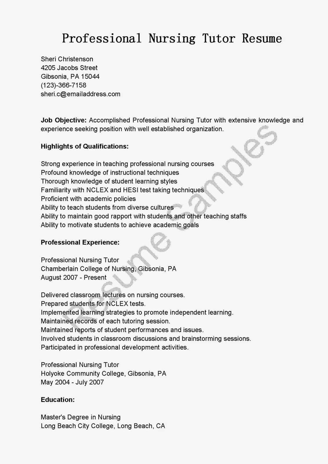 Resume Samples Professional Nursing Tutor Resume Sample