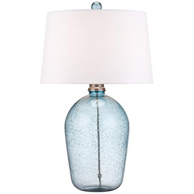 Hand Blown Blue Bubble Glass Table Lamp Everything Turquoise