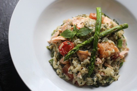 Salmon asparagus basil risotto recipes