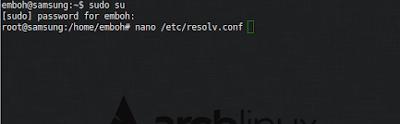 Lalu cek dnsnya pada pc client, tambahkan dns server pada client
