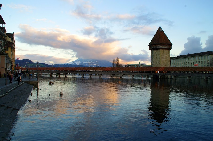 Lake Lucerne Chapel Bridge Sunset