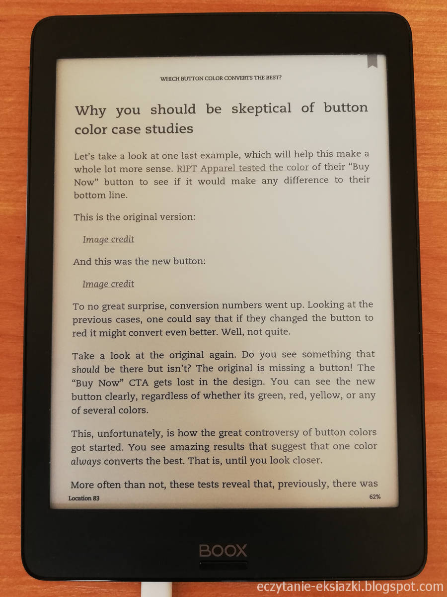 Widok otwartego e-booka w aplikacji Kindle na Onyx Boox Nova