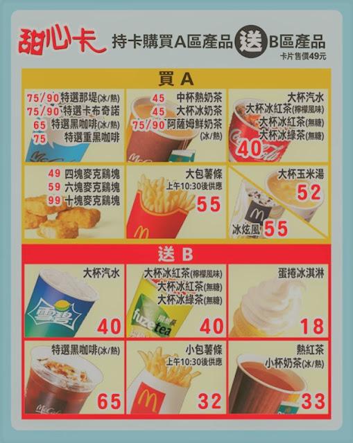 【麥當勞】2019甜心卡優惠